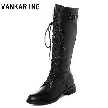 fashion belt buckle strap long boots autumn winter lace-up shoes women black high-heel women leather knee-high long zipper boots стул бител стул венский м серебро с 118