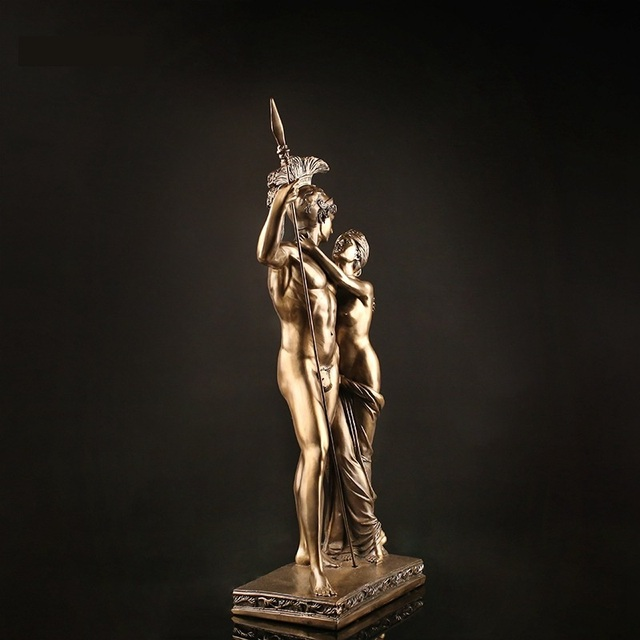 Antique Roman Lovers Warrior Sculpture Handmade Resin Statue 3
