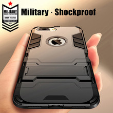 Luxury ShockProof Phone Stand Case For iPhone 7 8 6 6S Plus Hybrid Silicone + PC Durable Armor Cover For iPhone X 5 5S SE Couqe pc 268 shockproof dustproof protective silicone case w stand for iphone 6 4 7 army green