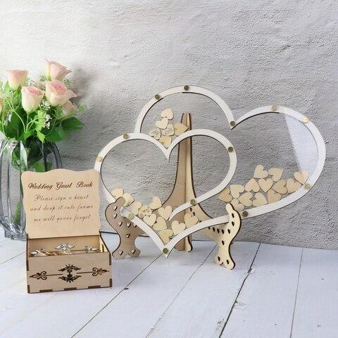 Livro de Hóspedes Caixa de Casamento Caixa de Gota Caixa de Madeira Duplo Coração Forma Casamento Decoração Rústico Doce Gota 3d Guestbook