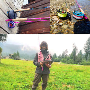 Maximumcatch 6.5FT/9FT Pink Fly Rod 30T Carbon Fiber Medium-Fast Fly Fishing Rod 2/5WT 4Pieces For Ladies