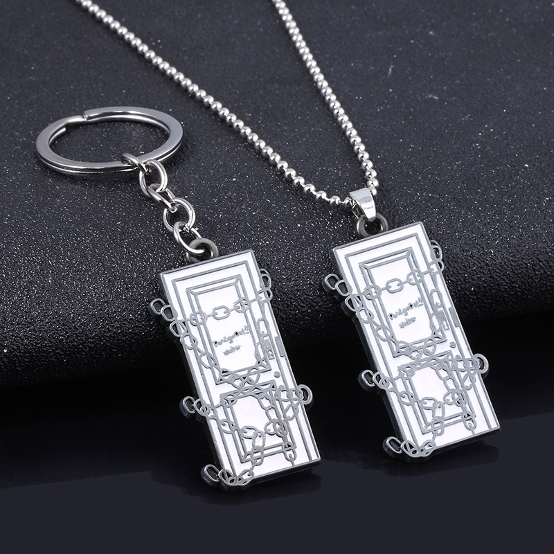 SG Hot Game Silent Hill Necklaces Pendants Link Chain Square Door Choker For Women Men Car Keyring Key Holder Jewelry image