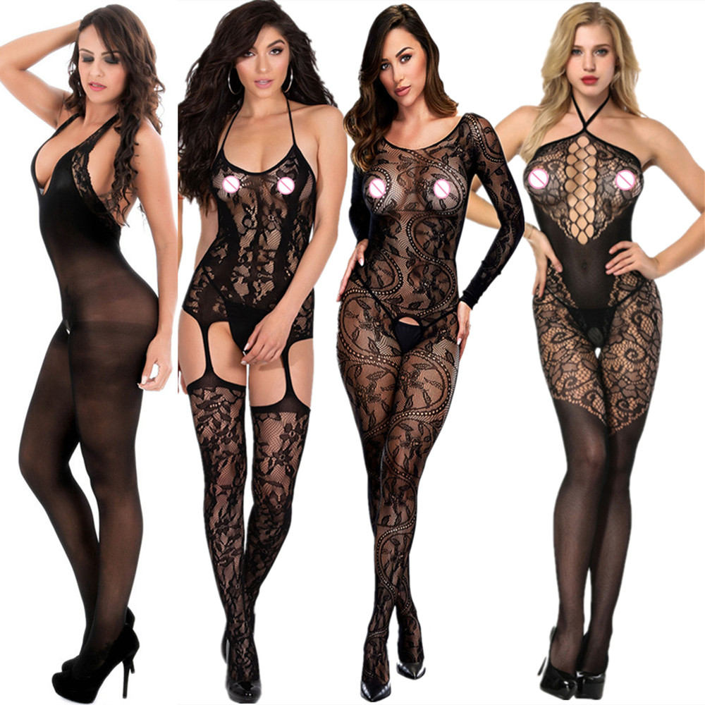 2019 New Open Crotch Bodystocking Women Sexy Erotic Lingerie Black Fetish Body Porno Underwear Crotchless Babydoll Costumes