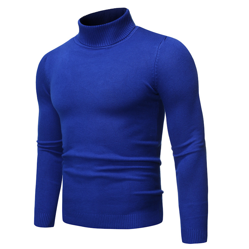 Sweater Mens Blue Warm Tricot For Man Slim Pullover Men Turtle Neck Knitted Sweater Winter Fashion Solid Casual Pullover