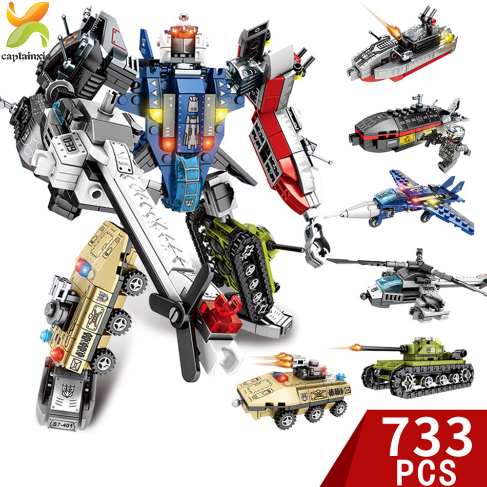 733pcs 6in1 Transformation War Robot Vehicle Helicopter Tank Building Blocks DIY Legoes Educational Brick Kit Children Toys Gift