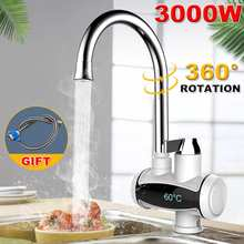 3000W Tankless Water Heater Faucet Shower Instant Water-Heater Temperature Display Electric Hot Water Tap for Kitchen Bathroom