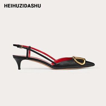 2020 Summer Black Leather Women Sandals Kitten Heel Slingback High Heels Luxury Brand Metal Design Pumps