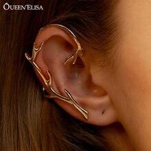 QUEEN ELISA – boucles d'oreilles à crochet pour femme et fille, exagérées, en cristal, sans perçage, en feuille de métal, faux Piercing, manchette, 2021