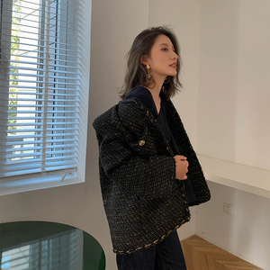 Image 2 - Vintage Black Tweed Jacket 2019 New Autumn Winter Fashionable Woolen Elegant OL Female Coat