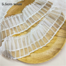 5.5cm Wide Net Red White Organza Double Pleated Accordion Lace Fabric Skirt Clothes Neckline Three-dimensional Shape Edge Sewing
