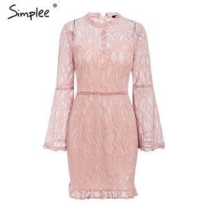 Image 5 - Simplee Sexy robe en dentelle transparente taille haute à manches longues gaine robe midi élégant bureau dame mince fleur courte robe de soirée