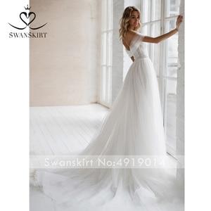 Image 2 - Swanskirt חוף קריסטל חתונה שמלת 2020 כבוי כתף אשליה אונליין מתוקה נסיכת הכלה שמלת Vestido דה novia NR12
