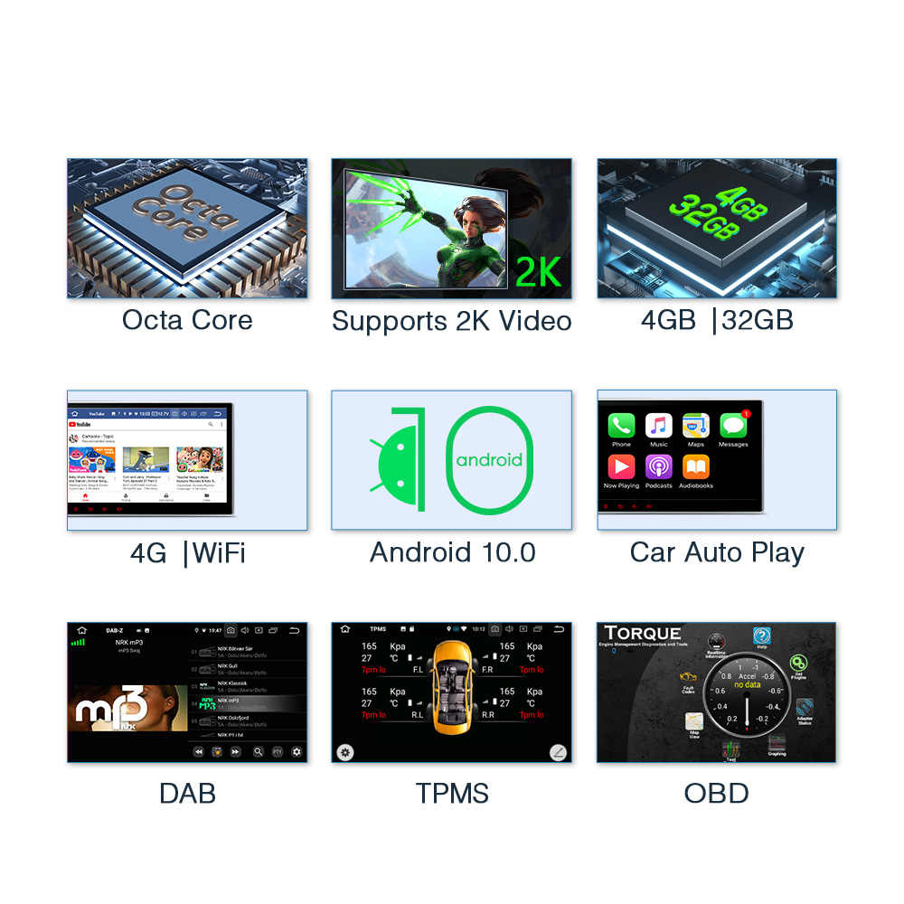 XTRONS 2 Din 10.1 ''Android 10,0 Octa Core Universal Auto DVD Radio Stereo-Player GPS Navigation OBD TUPFEN DVR WIFI USB Bluetooth