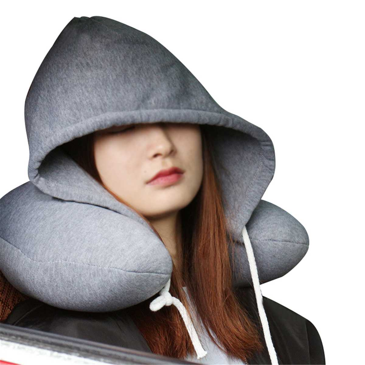 Travel Accessories Cotton U Shaped Pillow Hat Solid Color Travel Neck Pillow With Cap For Men Women Sleepy Pillow Car Airplane