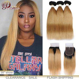 Image 3 - Honey Blonde Bundles With Closure Peruvian Straight Hair Ombre 3 Bundles With Closure 1B 30 Human Hair Weave Pinshair Remy Hair