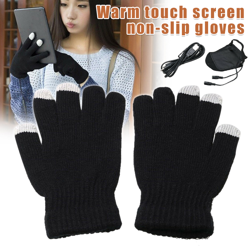 Winter Gloves Women Gloves USB Heating 5V Hand Warmer Heated Knitted Solid Color Black Touch Screen Non-Slip Adult Men Mitten