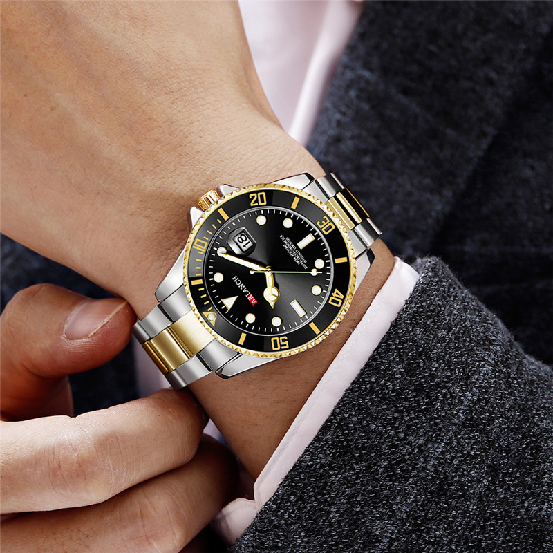 Gold Black Watches For Men Top Brand Luxury Rolexable Quartz Wrist Watch Man Steel Waterproof Date Wristwatch Relogio Masculino