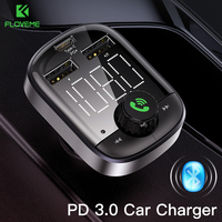 FLOVEME PD 3.0 Car Charger for iPhone Car USB Charger Fast Charging Type C Charger for Xiaomi Bluetooth Car Kit LED MP3 Player