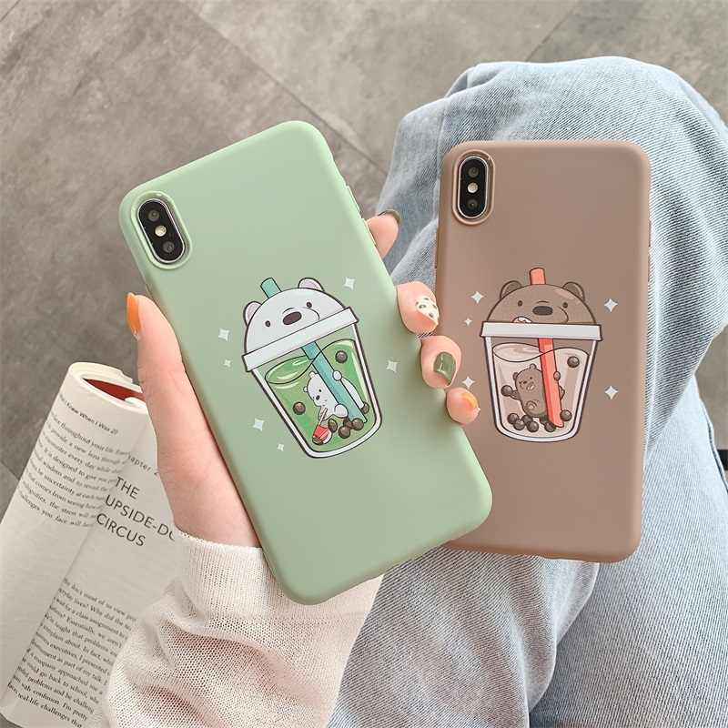 Cartoon Pearl Milk Tea We Bare Bears Phone Case For iPhone X XS MAX XR 6 6s 7 8 Plus Fashion cute Lovers soft Cover