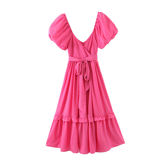 soft and ruffled puff sleeve dress 3
