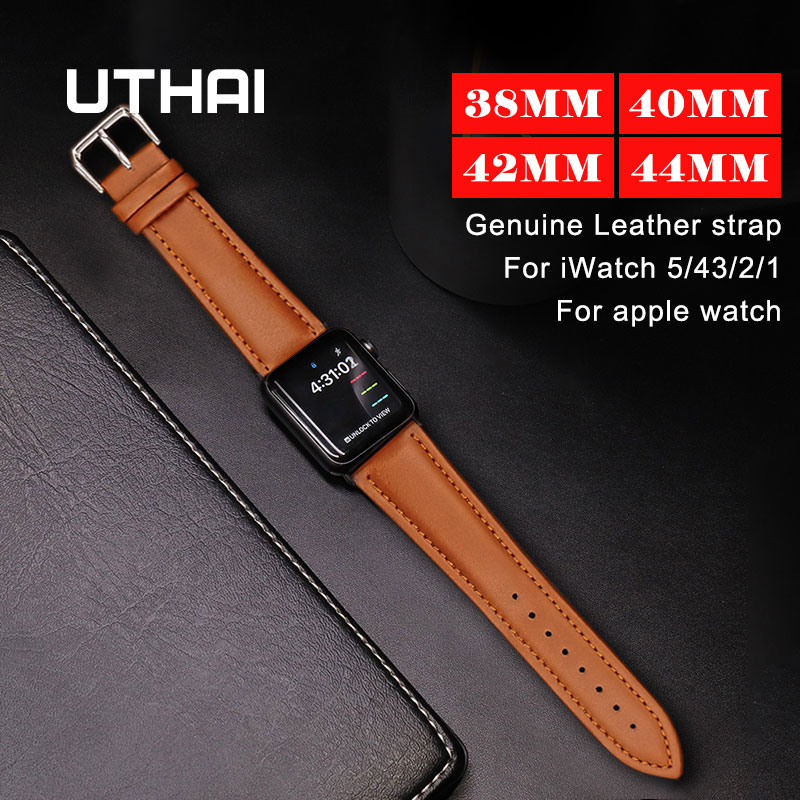 UTHAI A21 Genuine Leather Strap For IWatch 1/2/3 38mm 42mm For Apple Watch Series 4/5 40mm 44mm Watchband Bracelet Accessories