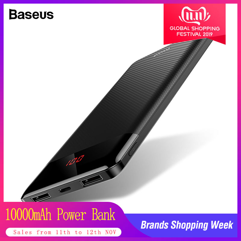 Baseus Slim 10000mAh Power Bank 10000 USB LCD Powerbank Portable External Battery Pack Charger For Xiaomi Mobile Phone Poverbank