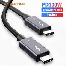 كابل Thunderbolt 3 من CABLETIME كابل PD 100 واط USB 3.1 نوع C إلى USB C كابل 40Gbps شحن سريع كابل USB C لسامسونج S10 شاومي N209