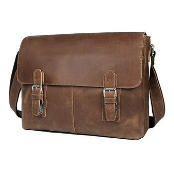 JMD Vintage Genuine Crazy Horse Leather Mens Messenger Bag Man Shoulder Sling 15 inch laptops 6002LR-2
