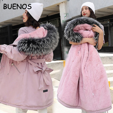 BUENOS 2019 Winter Jacket Women With Large Fur Hooded New Female Long Winter Coat Parkas With Fur Lining Thick Warm Snow Wear