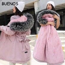 Chaqueta de invierno con capucha para mujer, nueva con capucha de piel grande, larga, con forro de piel, gruesa, cálida, para nieve, 2019