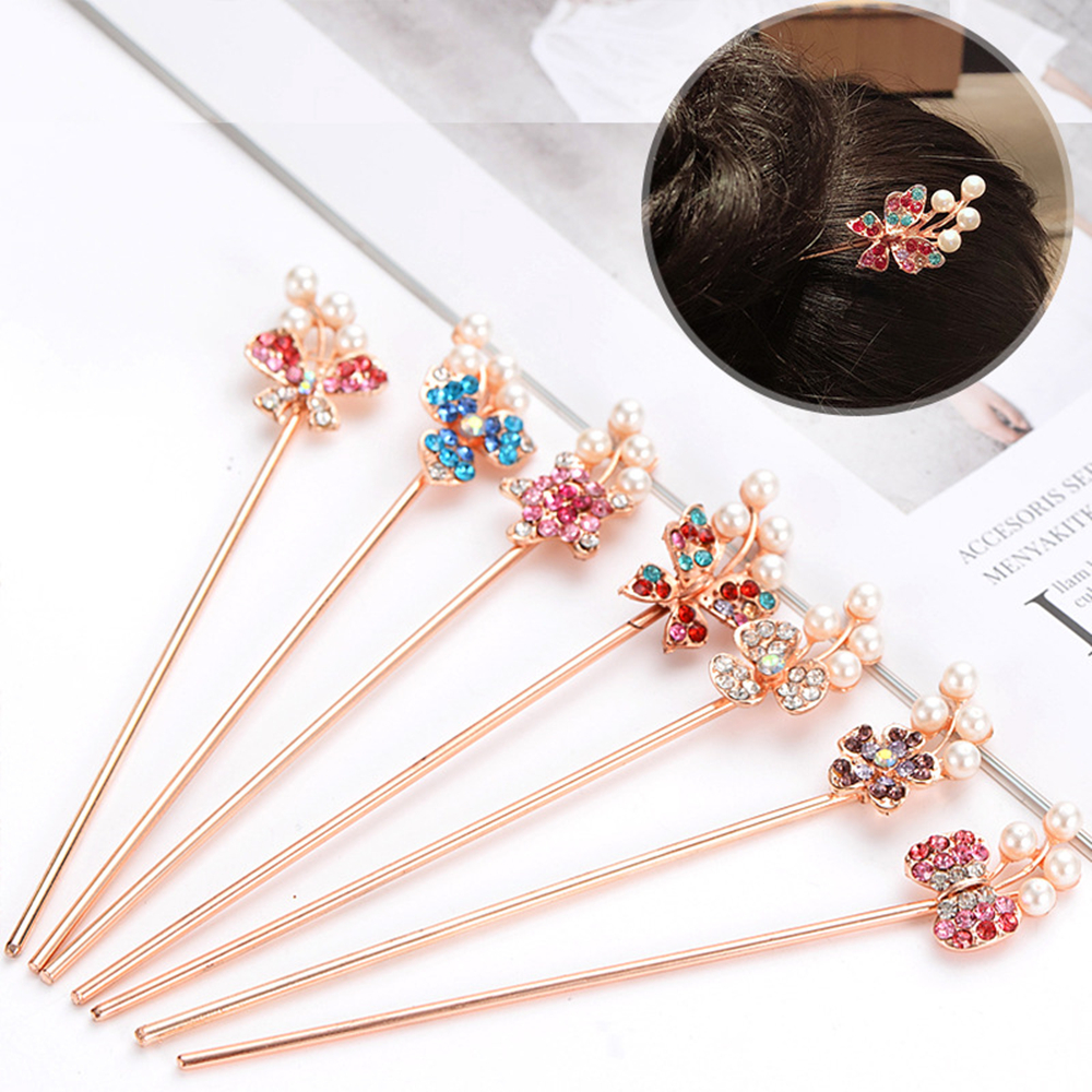 Pearl Rhinestone Simple Women Romantic Lady Metal Hair Stick Crystal Hair Chopsticks Hairpin Accessories China Classical Style