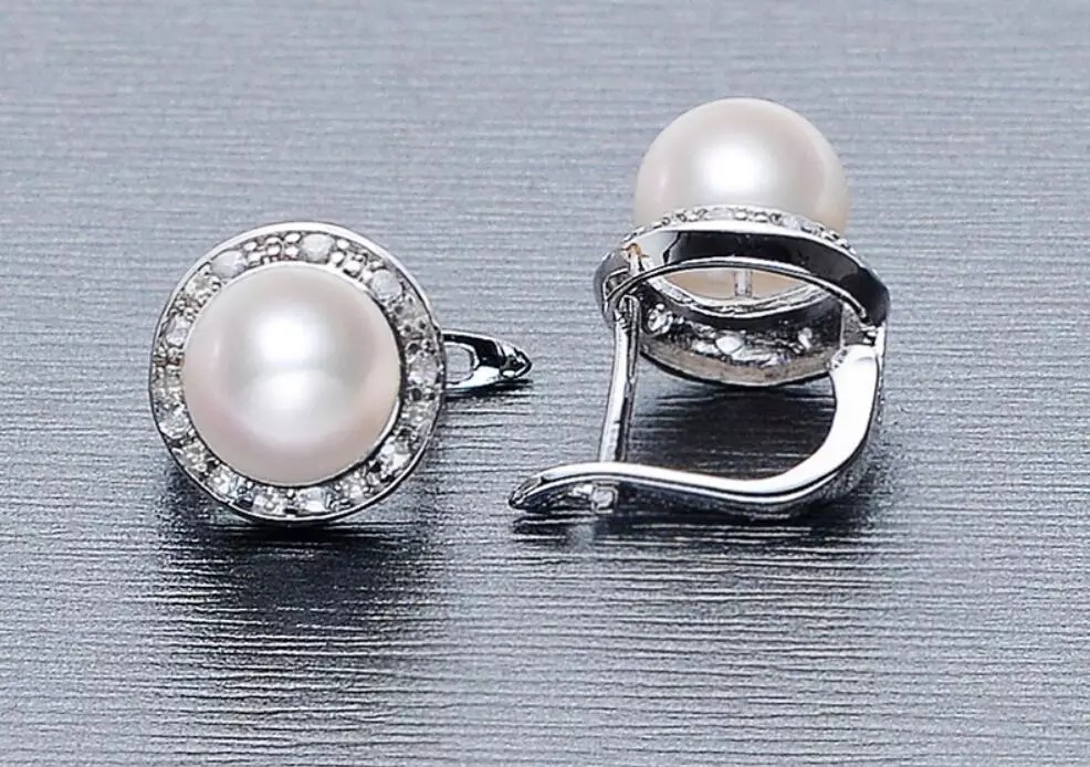 Wholesale 925 Silver Jewelry Pearl Earrings Crystal From Austrian Natural Pearl Jewelry 8-9mm Stud Earrings For Women
