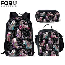 FORUDESIGNS 3Pcs School Bag Set for Kids Girls Cartoon Cute Cat Backpack Boy Bagpack Children Bookbag Satchel Daypack