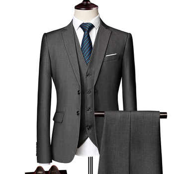 (Blazer+Pants+Vest) Classic Men Suit Slim Wedding Groom Wear Male Business Casual 3 Piece Suit Trousers Gentlemen Costume M-6XL