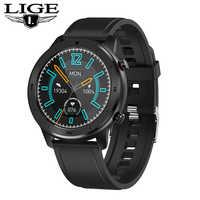 Reloj inteligente LIGE para hombres, monitor de presión arterial, resistente al agua, para iPhone, reloj inteligente, reloj electrónico para hombres