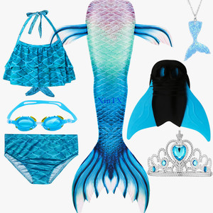 Image 4 - Girls Mermaid Tails Bra Shorts Monofin Swimsuit Cosplay Dress Kids Children Mermaid Tail Clothing Swimming Wear Flipper Costume