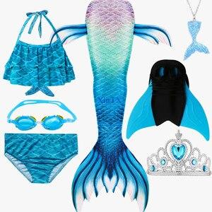 Image 4 - 女の子人魚の尾ブラジャーショーツ monofin 水着コスプレドレス子供子供マーメイドテール服水着フリッパー衣装