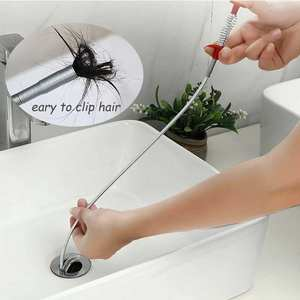 60cm Spring Drain Water Sink Cleaner Snake dredging Tool Clog Blockages Remover Catcher for Bathrooms Kitchen Tubs Hair Remover