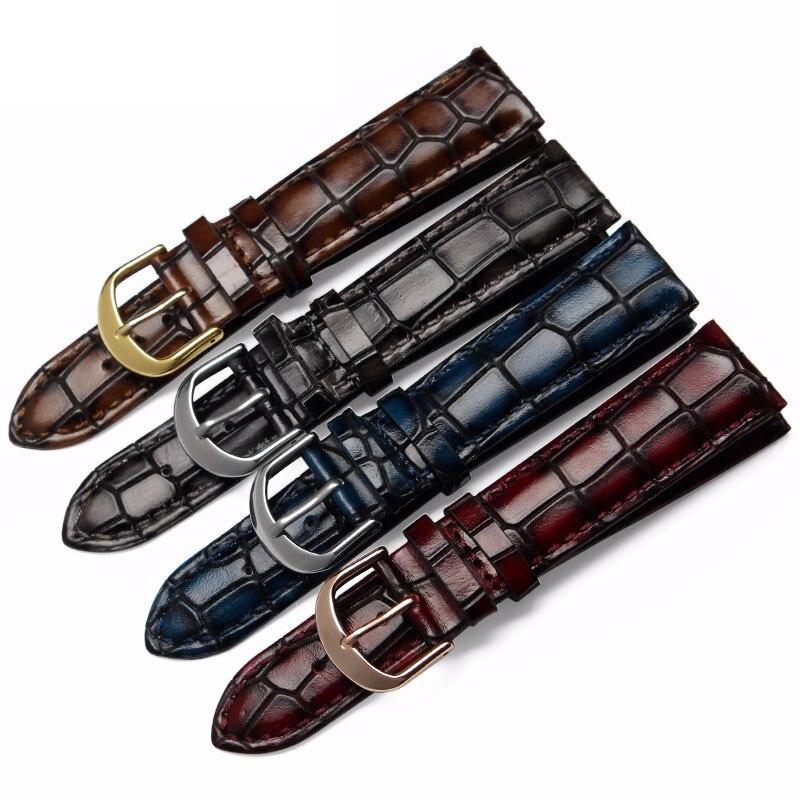 Fashion Genuine Leather Watchband Straps Black Brown Dark Blue Red 18mm 20mm 22mm Watches Men Bracelet