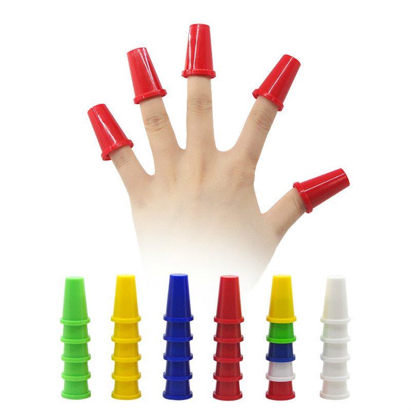 10pcs/Set Magic Fingertip Finger Stall Colorful Thimble Magic Tricks Cups Prop Stage Magia Show Easy To Do Funny Toys
