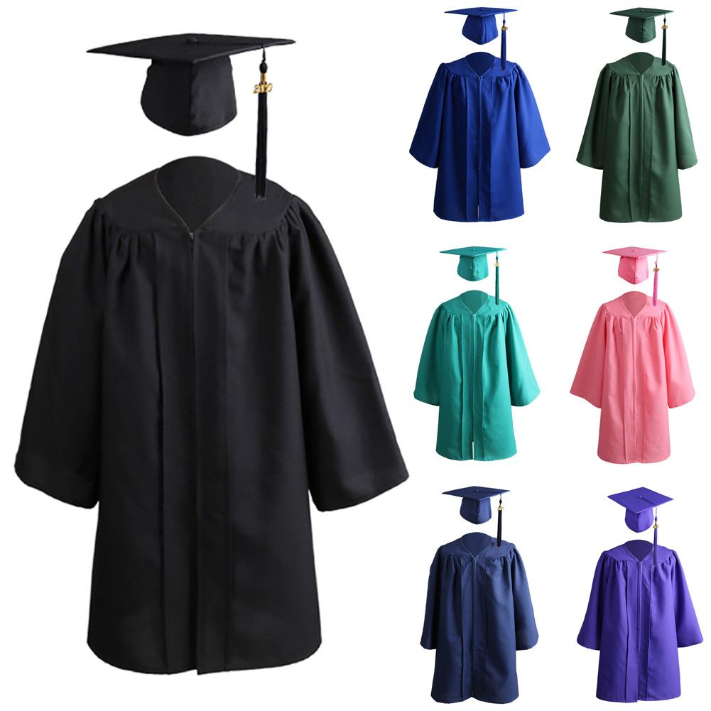 Children's Bachelor 2020 Kids Solid Color Zip Closure Kindergarten Graduation Gown Tassel Decor Cap