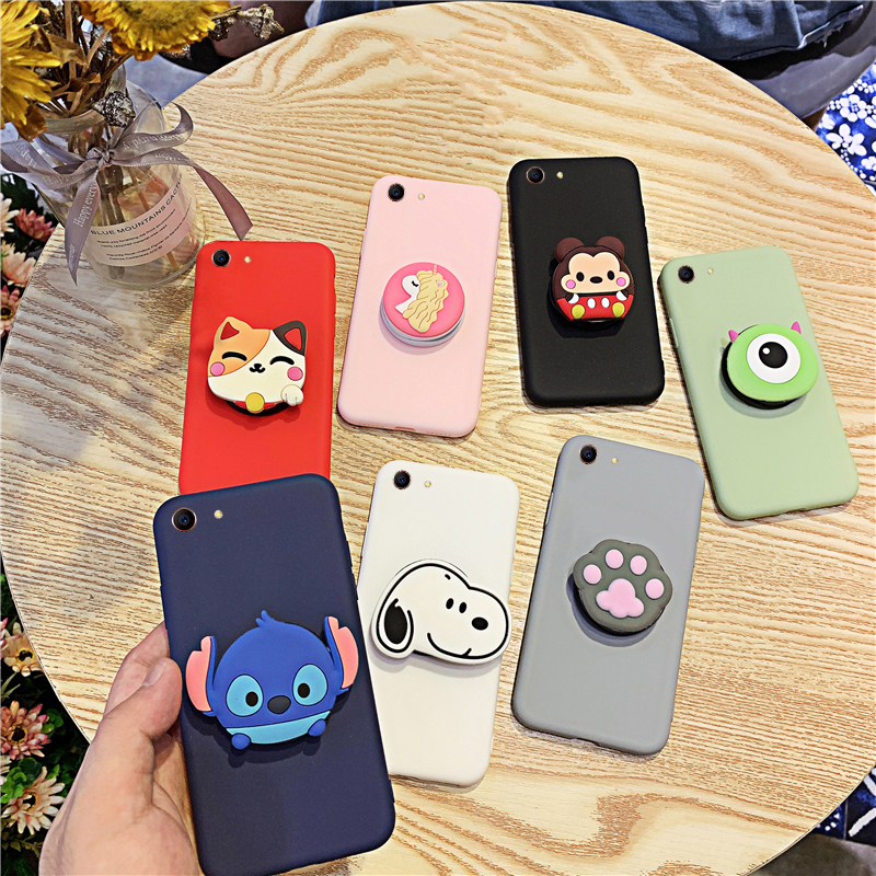 Silicone Cartoon Phone Holder <font><b>Case</b></font> For <font><b>Vivo</b></font> Y81 Y27 Y51 Y53 Y66 Y67 Y17 <font><b>Y71</b></font> Y75 Y85 Y83 2017 Girl Cute Stand Covers Protective image