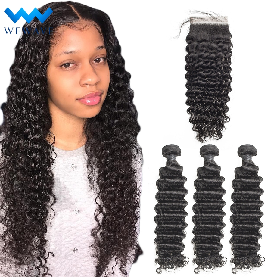 28 30 Inch Deep Wave Bundles With Closure Human Hair 3 4 Curly Extension Brazilian Water Wet And Wavy Weave Bundle With Hd Lace