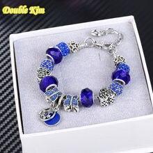 Очаровательный браслет из сплава с голубыми бусинами серебристого