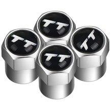 Acessórios do automóvel 4 pçs liga de alumínio emblema carro válvula pneu tampa do pneu ar hastes tampas para audi tt 8n 8j 8s mk1 mk2 mk3 a1 a3 a4 a5