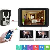 SmartYIBAWiFi Smart Home Doorbell+3 Monitors Remote/Fingerprint/Password Unlock Wired WIFI Security House Bell Video Intercom