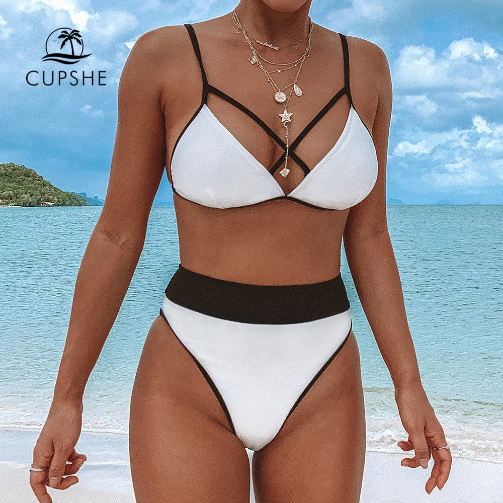 CUPSHE Strappy Black And White Triangle Bikini Sets Sexy Swimsuit Two Pieces Swimwear Women 2019 Beach Bathing Suit Biquinis