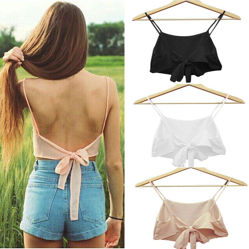 2020 New Women Sexy Camis Crop Tops Summer Solid Color Tops With Bowknot Braces Ladies Casual Tank Tops Sleeveless Vest Hot Sale