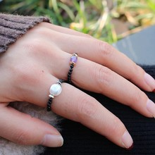 Momiji pedra natural ajustável chrismas presente anéis coréia estilo simples malaquita crytal ringscharm fantasia moda anéis conjunto