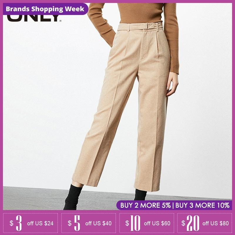 ONLY Women's Loose Straight Fit High-rise Woolen Crop Pants| 119314511